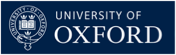 University of Oxford text with the University Crest to the left, on an Oxford Blue background